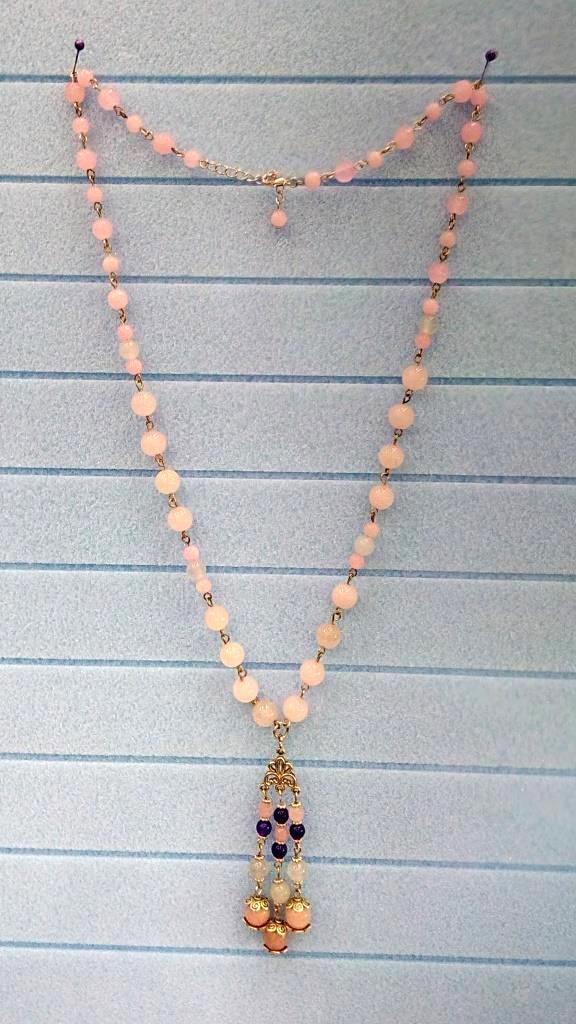 Колье с подвеской из Розового кварца, натуральный камень, цвет розовый и его оттенки, тм Satori \ Sk - 0018