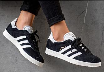 Кроссовки мужские кроссовки Adidas Gazelle Black/White, адидас газель