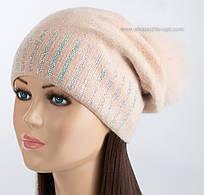 Женская шапочка с песцовым помпоном Богдана жемчуг