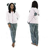 Домашний махровый костюм пижамка с ушками