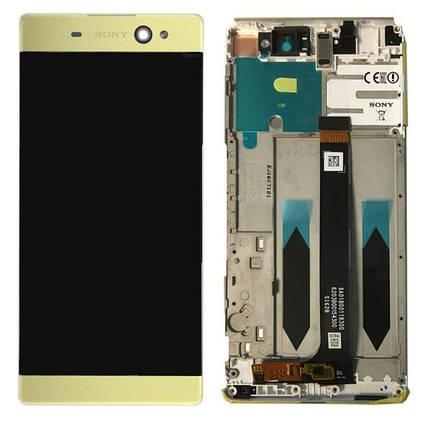 Дисплей (экран) для Sony G3226 Xperia XA1 Ultra Dual с сенсором (тачскрином) и рамкой золотистый Оригинал, фото 2