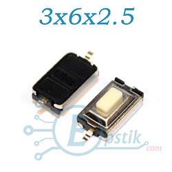 Кнопка тактовая, 3x6x2.5мм., 2pin, SMD