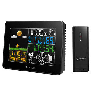 Метеостанція Digoo DG-TH8868 гігрометр/термометр, барометр з великим кольоровим дисплеєм і зовнішнім датчиком радіо