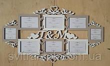 Сімейна весільна фоторамка з дерева