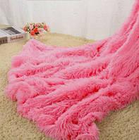 Меховой плед 220х240 с длинным ворсом DCT072D-082 яркий розовый
