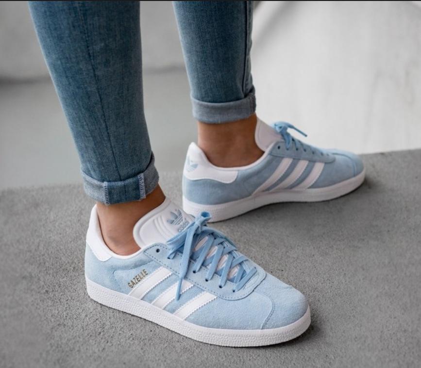 Кроссовки женские Adidas Gazelle Light Blue, адидас газель