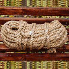 Канат джутовый 10 мм х 50 м | Веревка джутовая для декора ➤ Бечевка ➤ Пенька | Мотузка джутова Україна