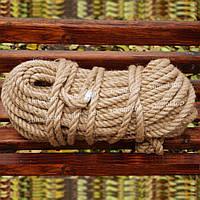 Канат джутовый веревка 12 мм х 50 м - пенька - мотузка джутова