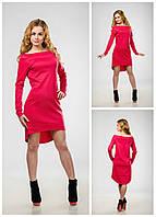 Модное женское платье - маллет, с открытыми плечами коралл