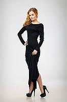 Элегантное платье макси с разрезом и открытой спиной черный