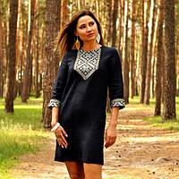 Платье с вышивкой из синего льна, фото 1