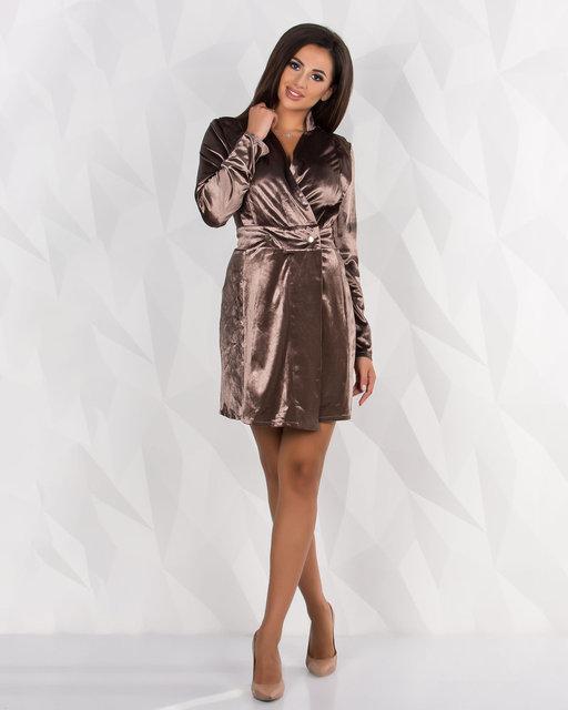 Платье женское короткое бархатное на запах (К24072)