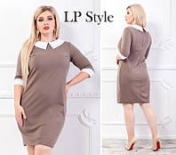 Женское стильное платье-футляр с контрастным воротничком и манжетами Батал, фото 1
