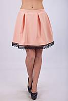 Легкая летняя юбка - колокол с кружевом (взрослые и детские размеры), фото 1