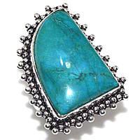 Бирюза кольцо с бирюзой в серебре 18.5 размер натуральная бирюза Индия, фото 1