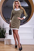 Женское трикотажное платье-рубашка с белой отделкой (2537-2539-2538 svt), фото 3