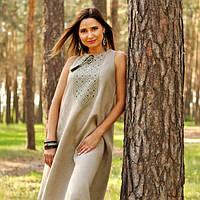 Женское вышитое платье-оберег из натурального льна, фото 1