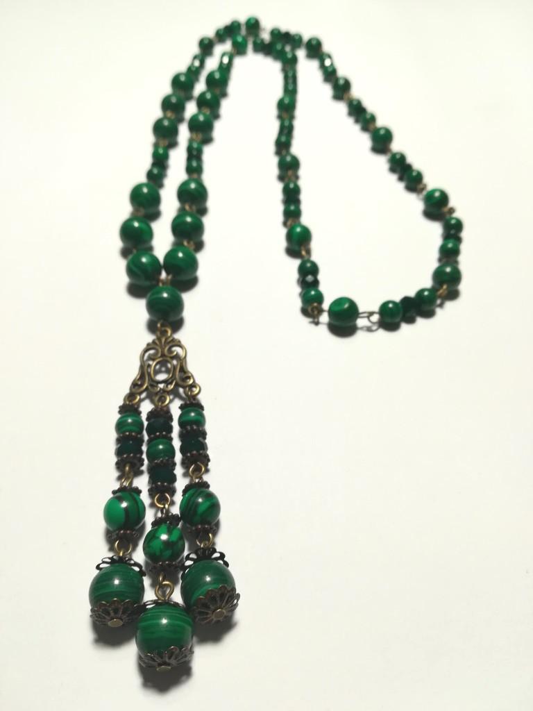 Колье с подвеской из Малахита прес., натуральный камень, цвет зеленый и его оттенки, тм Satori \ Sk - 0035