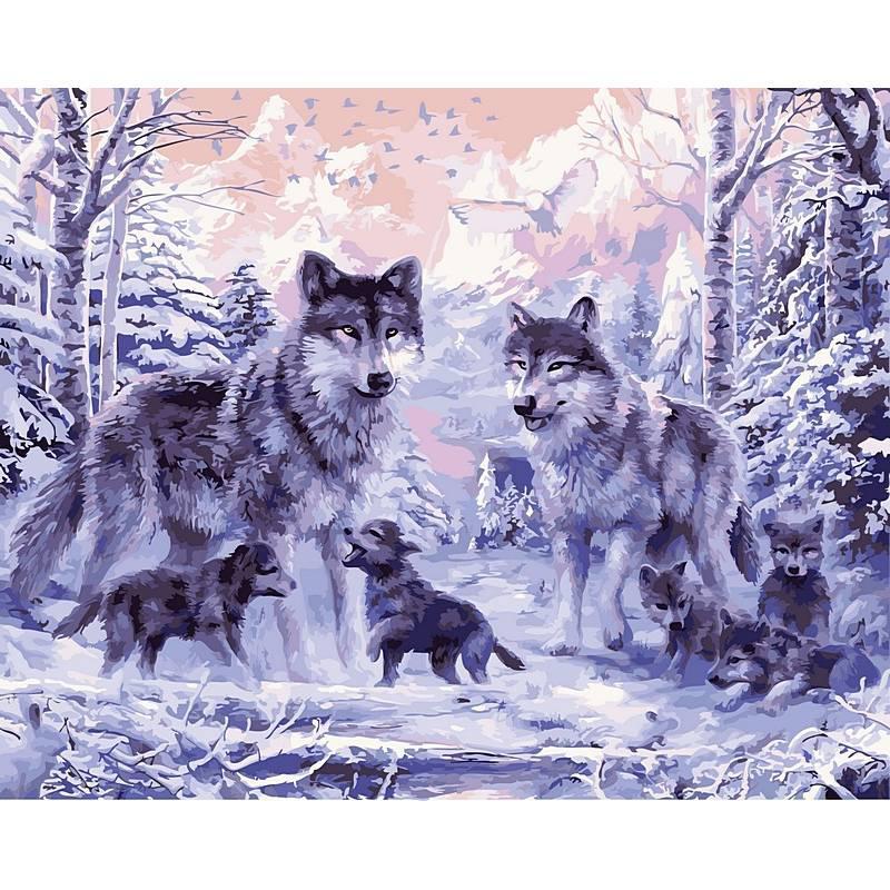 "Картина по номерам 50х40см ""Волки в зимнем лесу"""