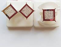 Серебряный комплект Квадрат с золотом и цирконием, фото 1