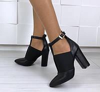 Туфли женские черная кожа с резинкой на каблуке 10 см натуральная  кожа! Ботильоны Mante Rio