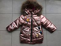 Куртка зимова блискуча на дівчинку 2-3 роки, фото 1