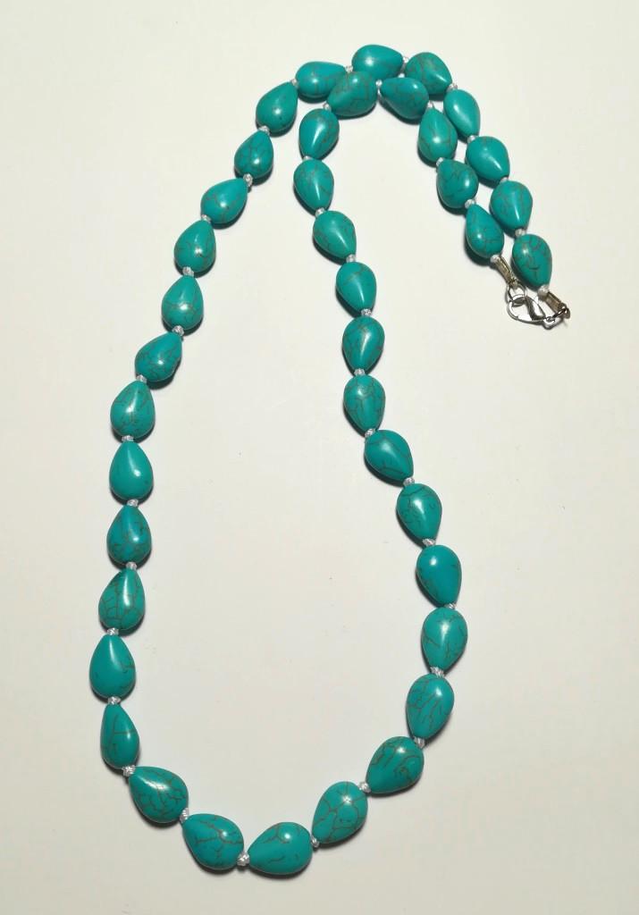 Бусы из Бирюзы, натуральный камень, цвет голубой и его оттенки, тм Satori \ Sk - 0041