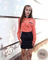 Солнечная яркая блуза-рубашка с карманами