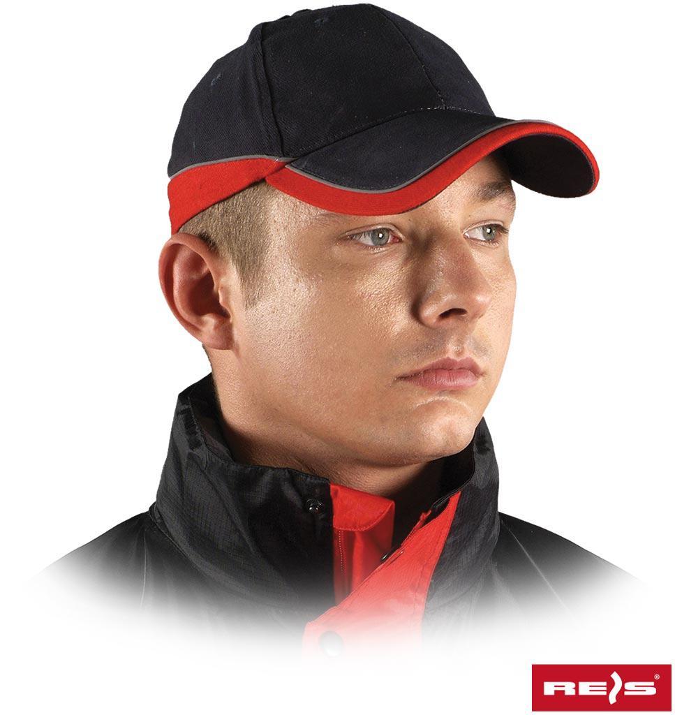 Кепка чорно-червона 57-61мм., 100% х/б, 290 г/м², (24/96), Reis