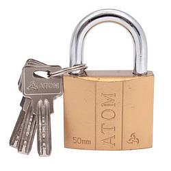 Замок навесной 50мм, стальной, 3шт ключа, Atom Solid (12/48)