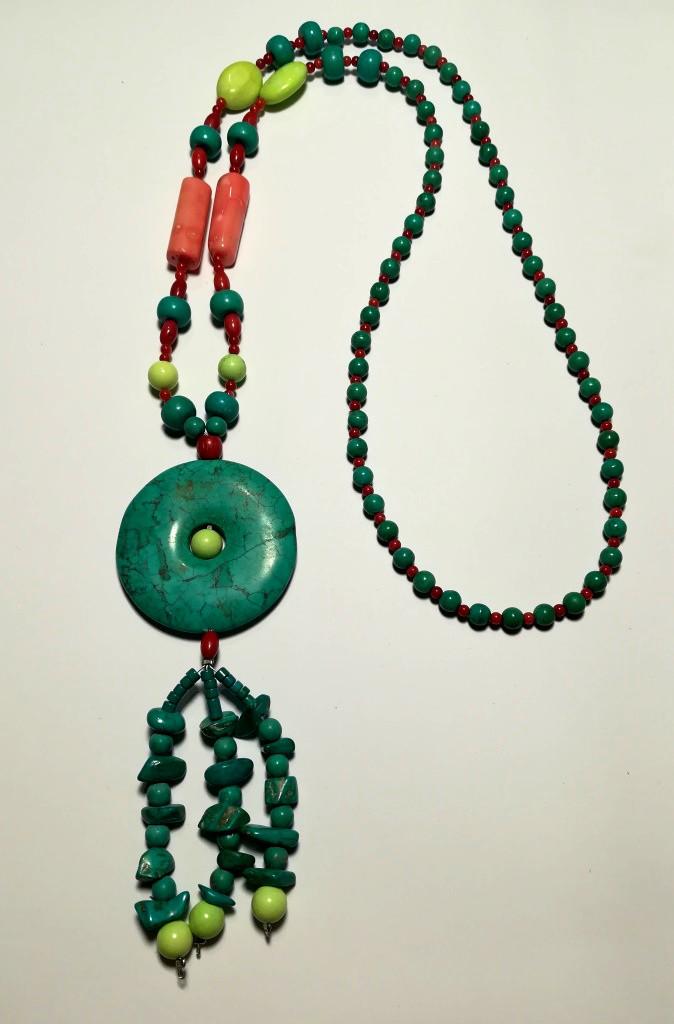Колье из Бирюзы с подвеской, натуральный камень, цвет голубой и его оттенки, тм Satori \ Sk - 0043