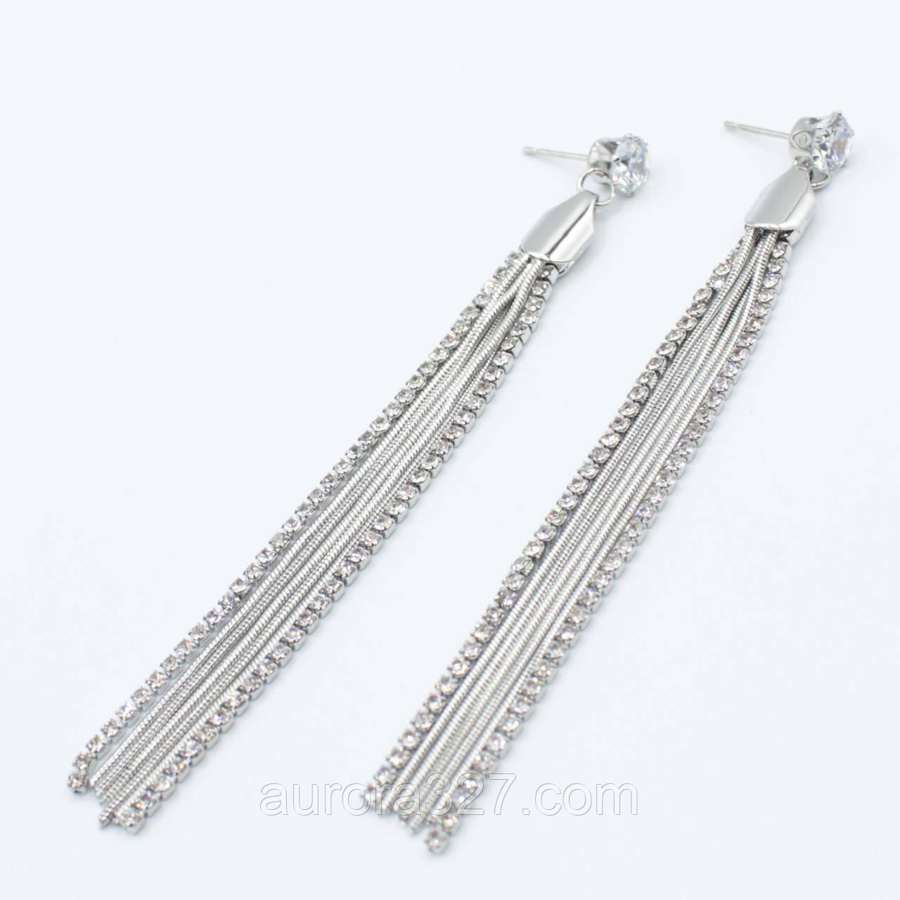 """Серьги длинные """"Juana silver """"  L- 9 см"""