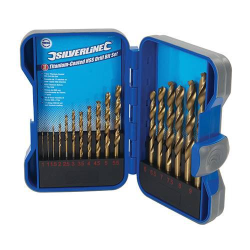 Набір свердл по металу ф1-9мм у мет. кейсі, titanium (17шт), HSS-R 4341, Silverline, 8207506000
