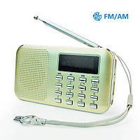 Мини радиоприемник PRUNUS L-218AM FM/AM, MP3, MicroSD, USB, фонарик, золотистый