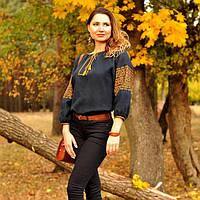 Вышиванка женская с бронзовой вышивкой, фото 1