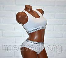 Белый комплект нижнего женского белья Кельвин Кляйн, топ + трусы слипы, набор Calvin Klein реплика, размер M