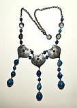 Колье этническое из Агата посеребрение, натуральный камень, цвет оттенки синего, тм Satori \ Sk - 0050, фото 2