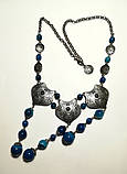 Колье этническое из Агата посеребрение, натуральный камень, цвет оттенки синего, тм Satori \ Sk - 0050, фото 3