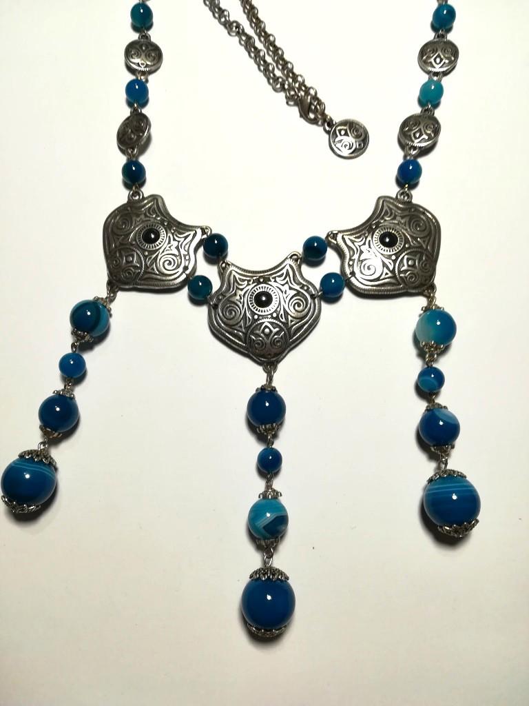 Колье этническое из Агата посеребрение, натуральный камень, цвет оттенки синего, тм Satori \ Sk - 0050