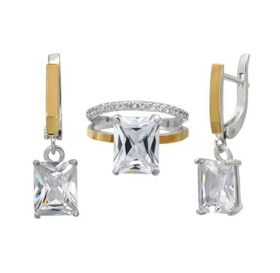 """Серебряный набор """"Желание"""" - кольцо и серьги с большим прозрачным прямоугольным камнем и золотыми пластинами"""