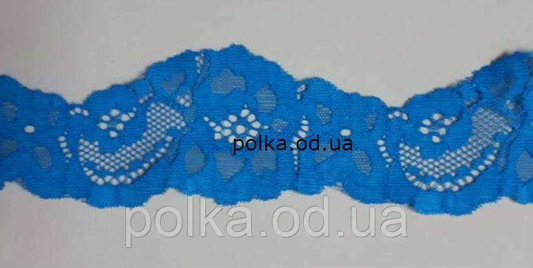 Стрейчевое кружево-1063,ширина 5см, цвет голубой/ синий