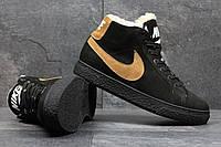 Мужские зимние ботинки Nike из натуральной замши черные 3616