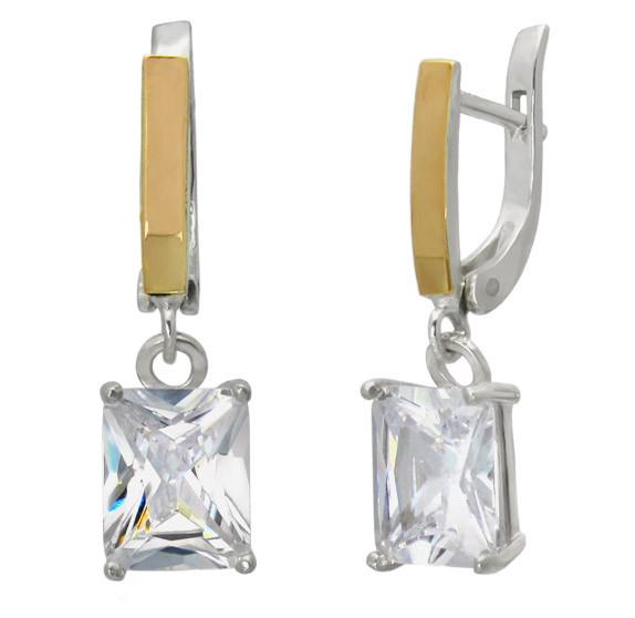 """Серебряные серьги """"Желание"""" - Серьги с большим прозрачным хрустальным камнем Фианитом"""