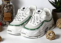 Копия Кроссовки Balencia Цвет Белый с зеленой вставкой, фото 1