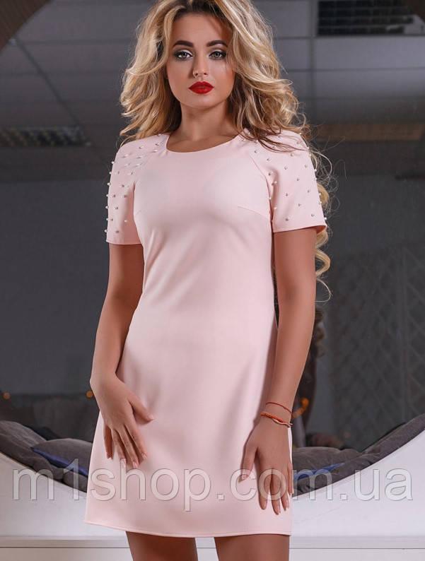 Короткое женское платье с жемчугом на рукавах (2551-2549 svt)