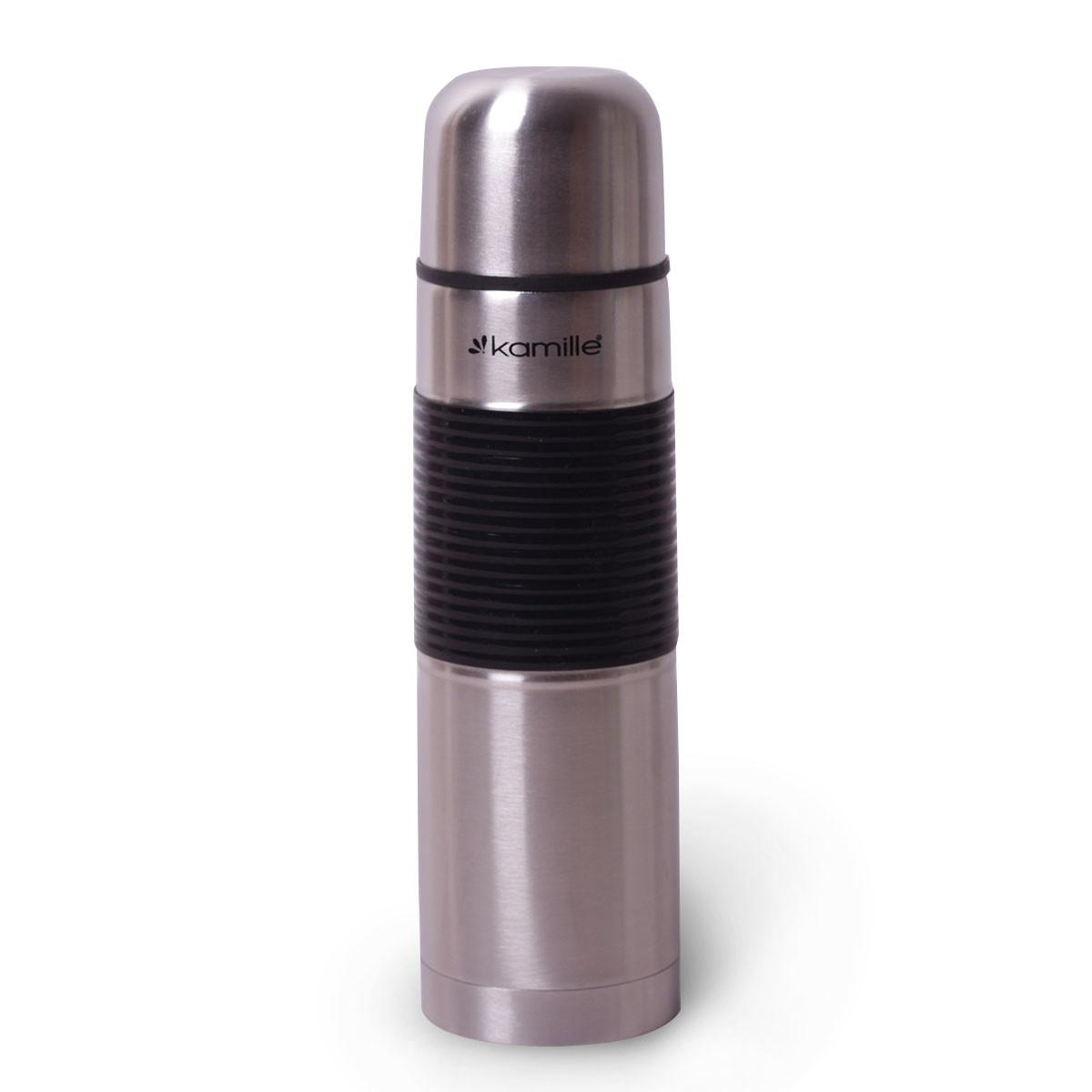 Термос для напитков Kamille 500 мл из нержавеющей стали с прорезиненной вставкой на корпусе, питьевой термос