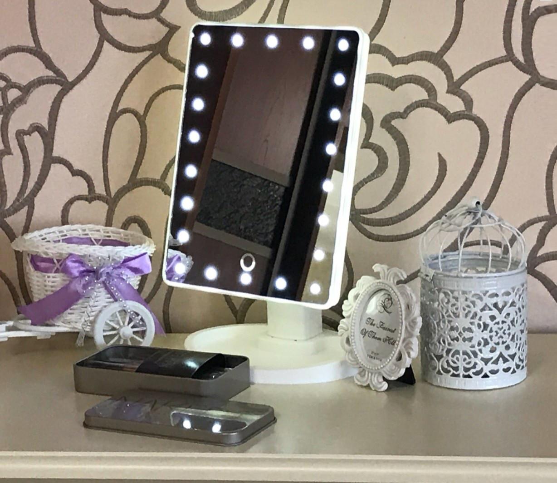 Зеркало косметическое с LED-подсветкой Magic (белое) 22 диода