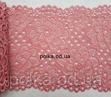 Стрейчевое кружево,цвет темно-розовый, ширина 15см(1 упаковка 23метра)