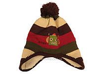 Детская вязаная шапка с коричневым помпоном