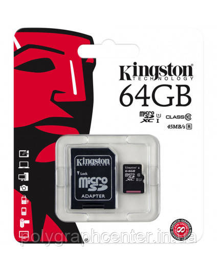 Карта памяти Kingston Micro SD 64 GB Class 10